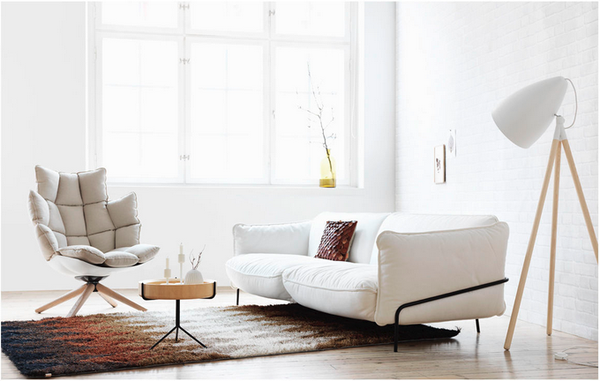 a modern minimalist white living room