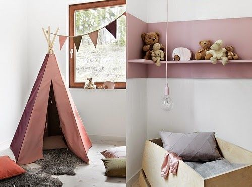 dusty soft pink tent and boxed bed for play room