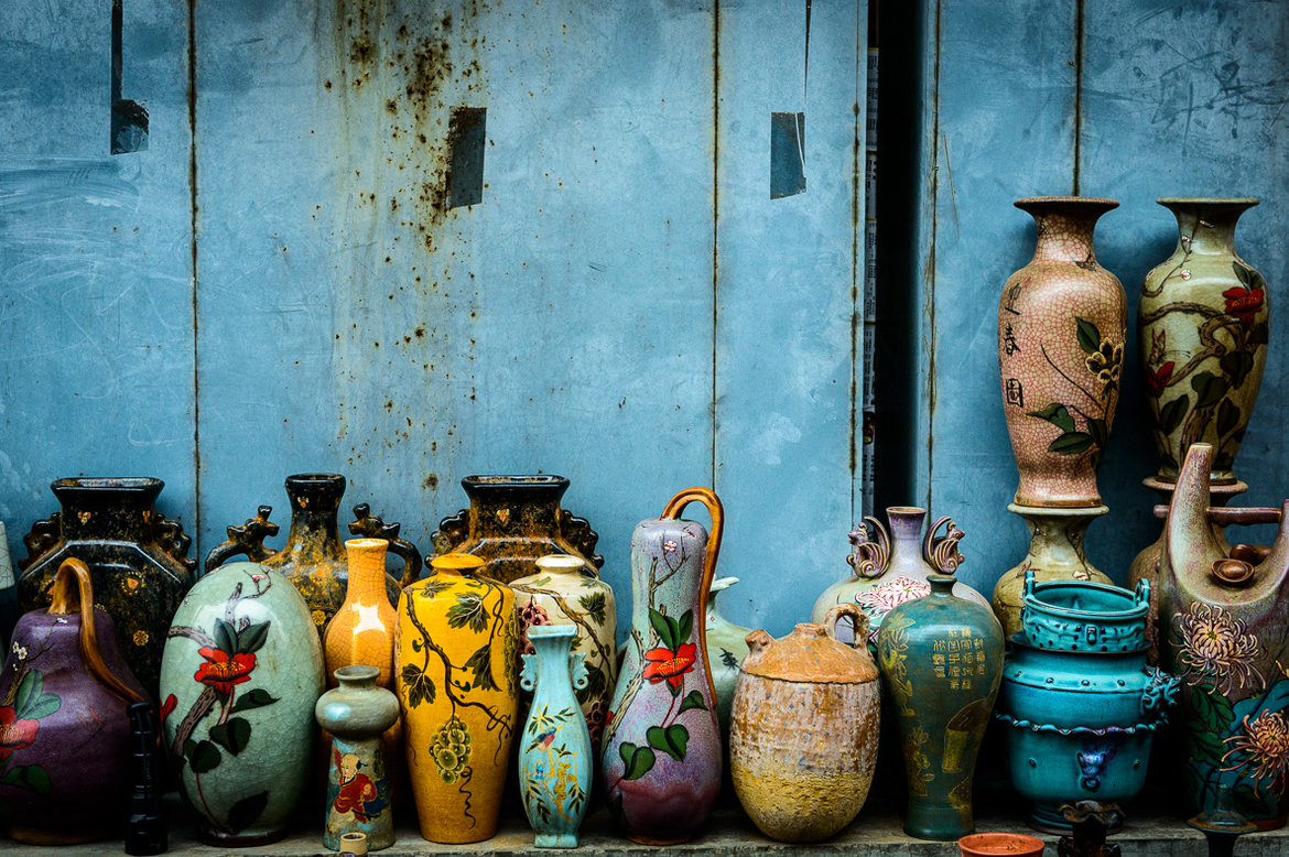 Banjiayuan Flea Market in Beijing sells unique and antique furnitures and porcelain ware