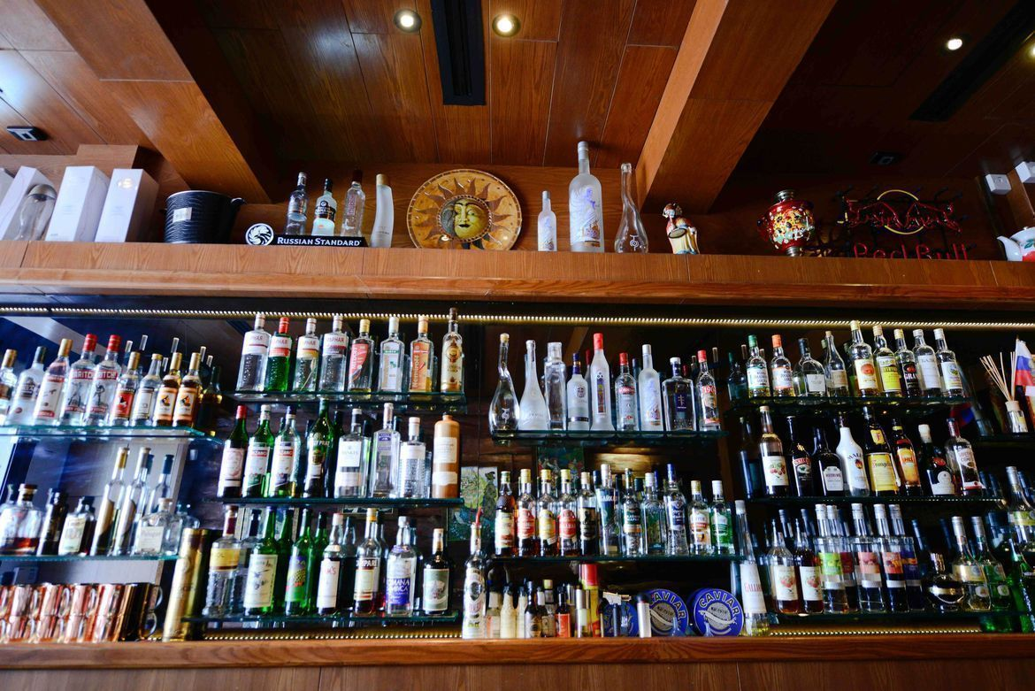 full alcohol collection at Buyan Russian Restaurant & Bar