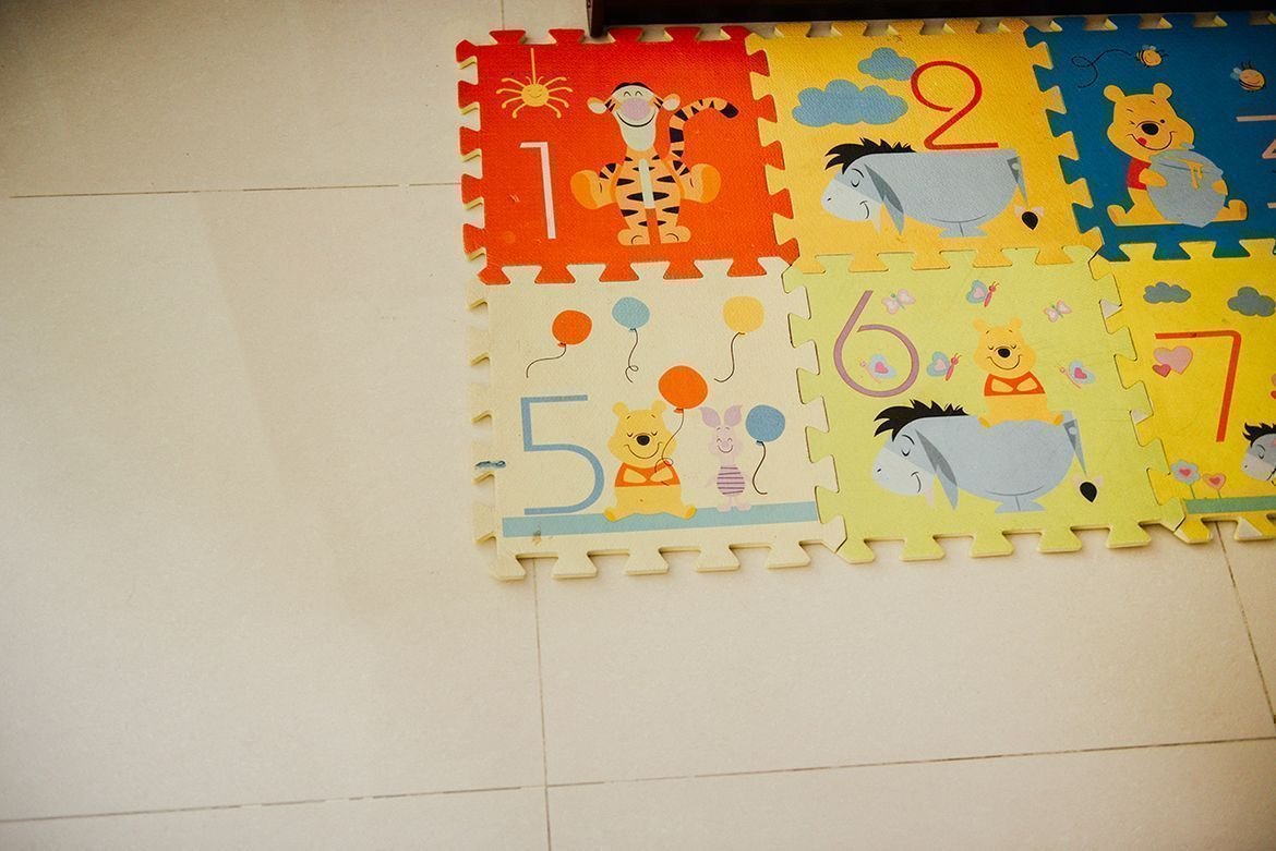 soft rubber mats which often comes in print of different cartoons for a safe floor area for toddlers to play in