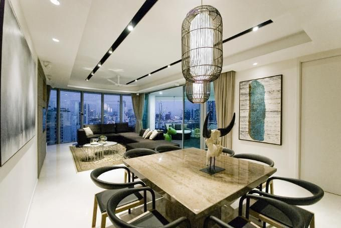 bright and unique lighting modern living room