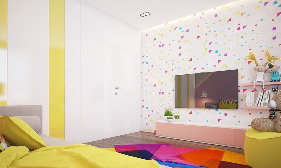 bright and colourful room with wallpaper