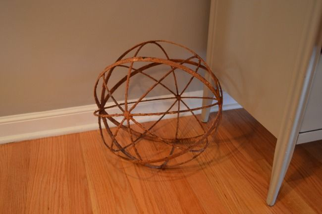 rusty metal orb ornament for home improvement lighting idea