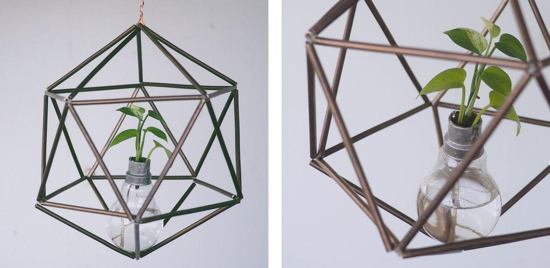 DIY Geometric Brass Pipe Planter