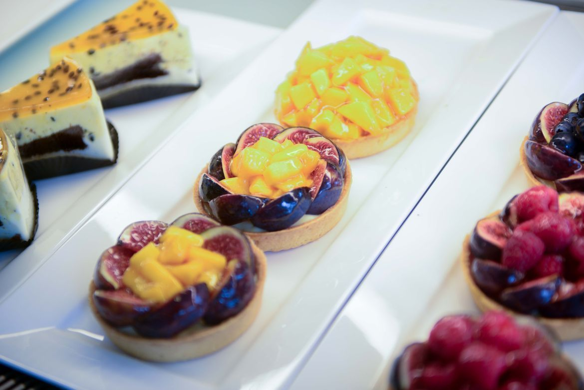 delicious cakes and fruit tarts at Drips Bakery Cafe