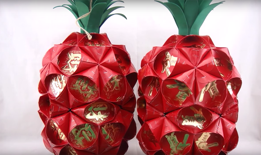 CNY Decor: Pineapple Lantern Made with Red Packets