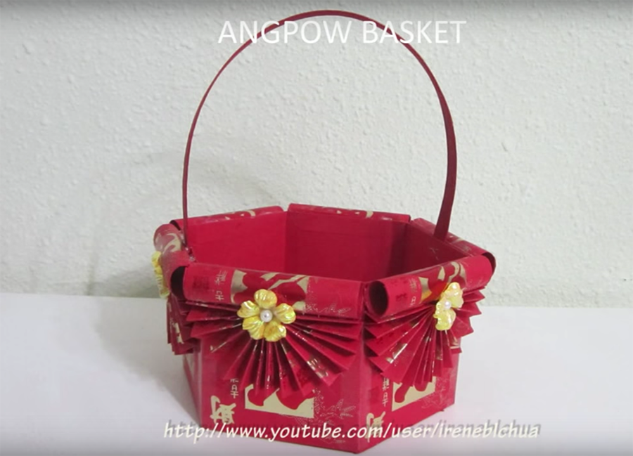 Cny decor how to make a hongbao basket for Ang pow decoration craft work