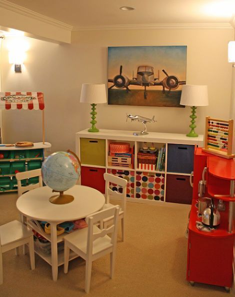 neat and bright play and study room for children