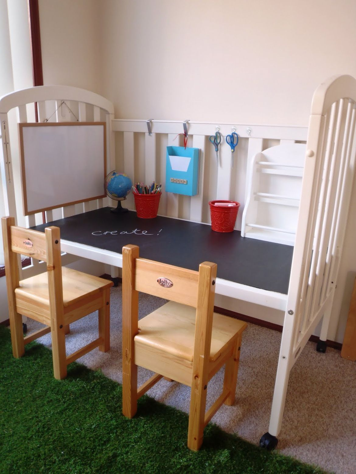 upcycled furnitures - turning the crib into a play or homework desk