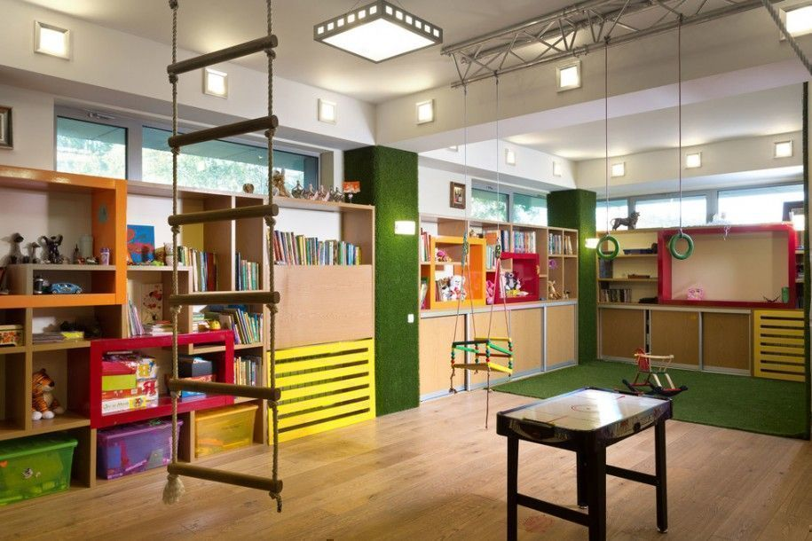 a colourful and wide playroom