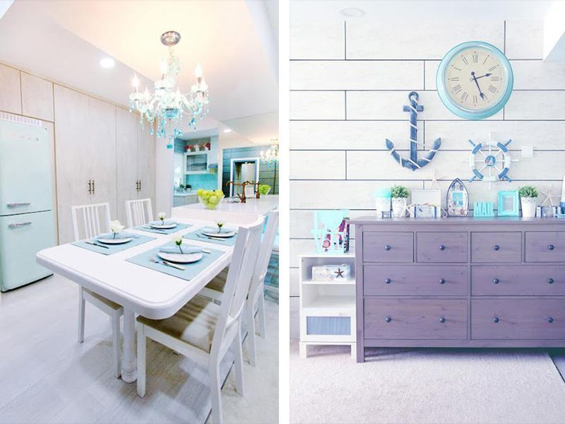 By Icon Interior Design Pte Ltd. A Coastal Country Style Pad In Lorong Ah  Soo Looks Easy Breezy Via A Mix Of Calming Blues, Whites, And Wicker And  Wooden ...