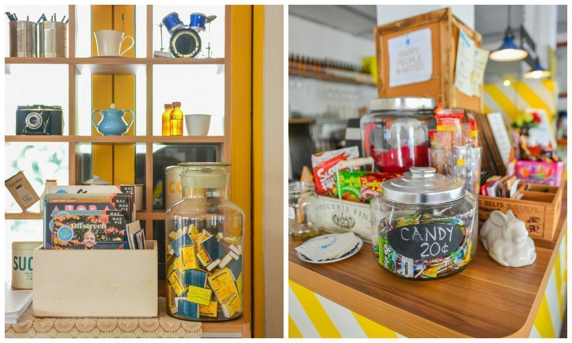 country style knick knack displays as as retro candies, tablewares at W39 Bistro & Bakery