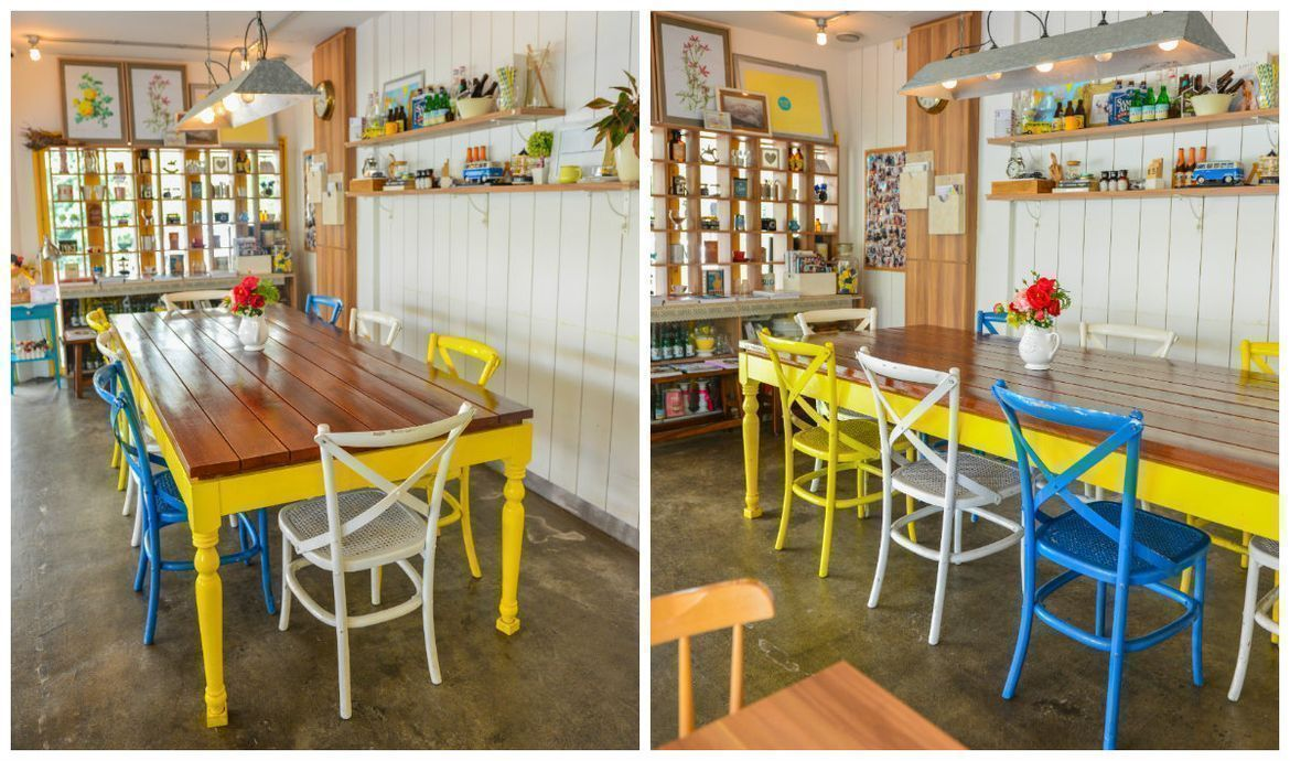 brightly coloured chairs for the dining space at W39 Bistro & Bakery