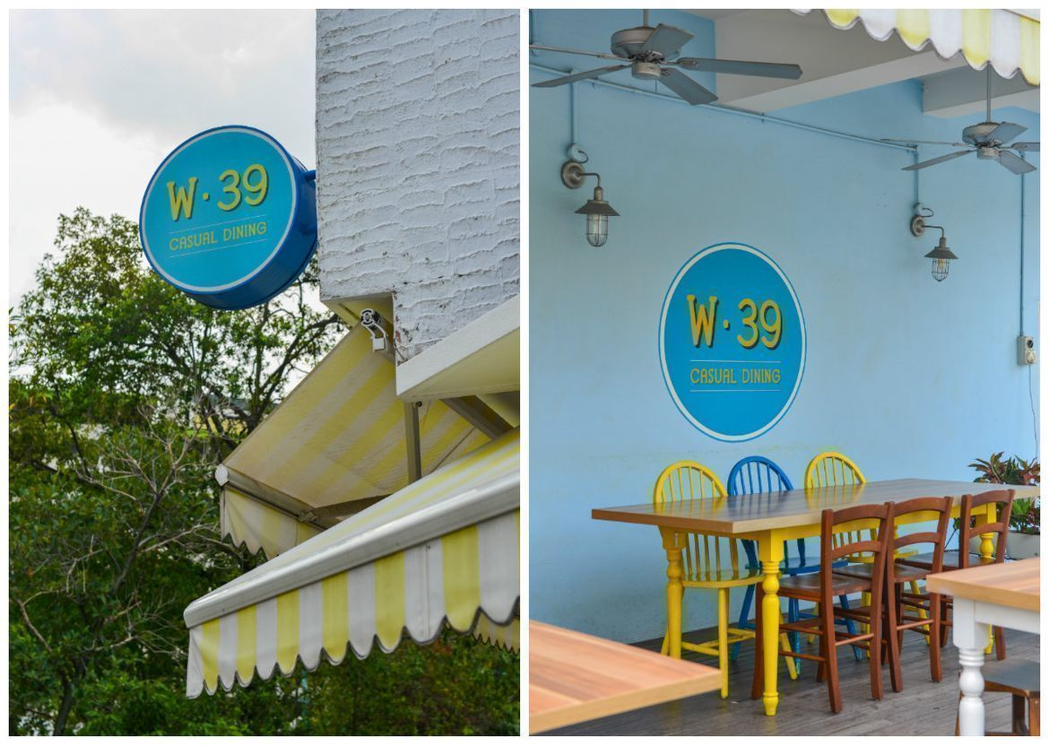 store front at W39 Bistro & Bakery, bright and inviting colours used