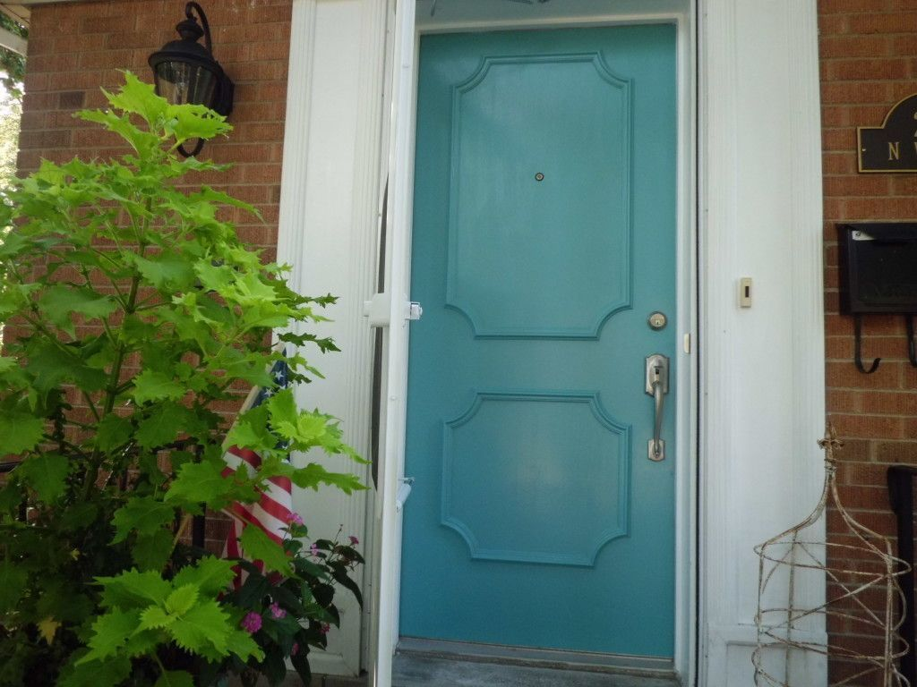 a painted vintage teal blue wooden door