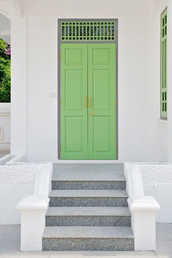 pastel green painted doors - vintage look