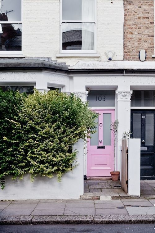 sweet pale pastel pink paint for front door