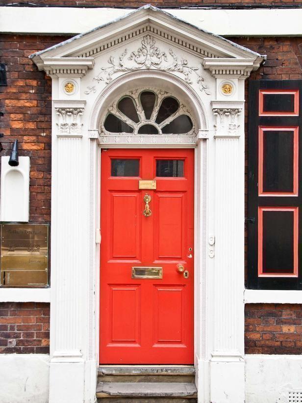 a classic bright red door