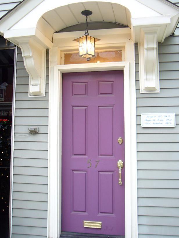 a purple, violet hue front door