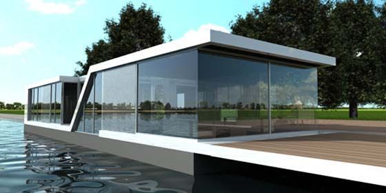 modern and luxurious glass house water villa in The Netherlands