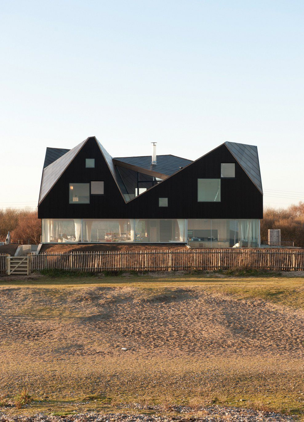 Geometric art structure glass house - The Dune House in Thorpeness, England