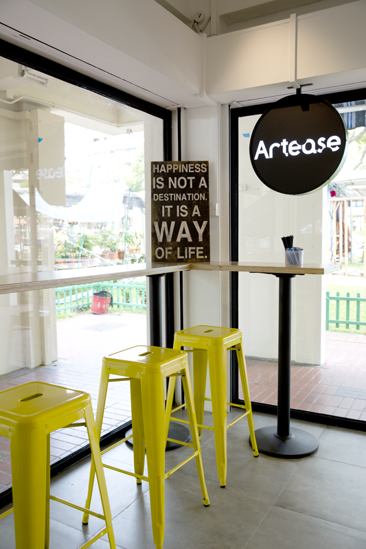 bright interiors of artease cafe in serangoon central