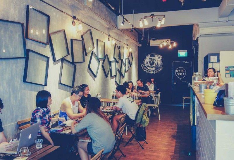 lola cafe has an industrial design decor