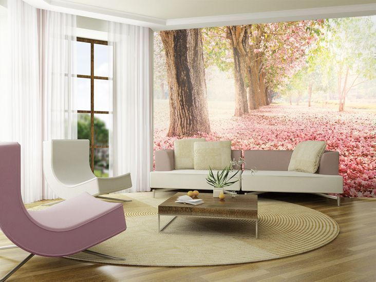 sweet pink sakura mural wallpaper for a bright and airy living room
