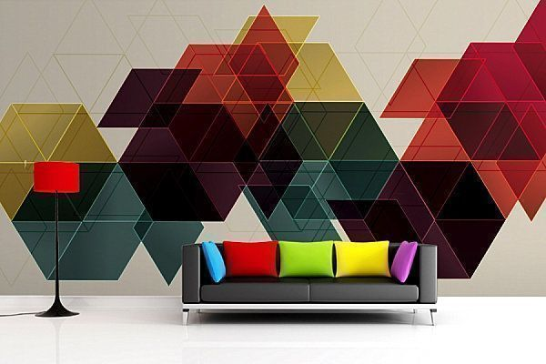 a modern graphic design mural wallpaper adds modern and futuristic look to the living room