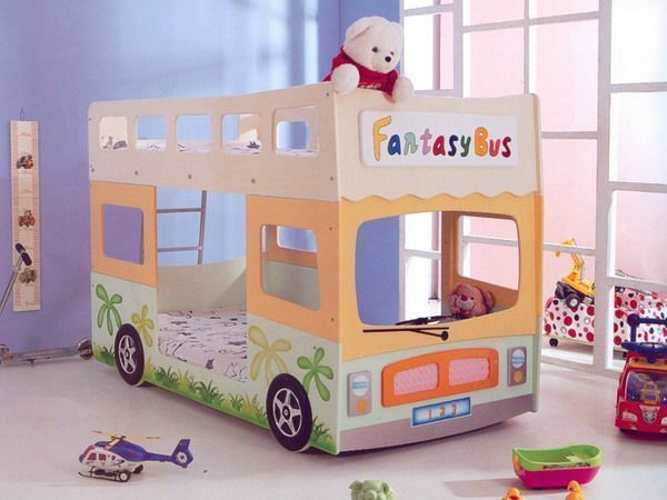 cute double deck bed in bus shape for children