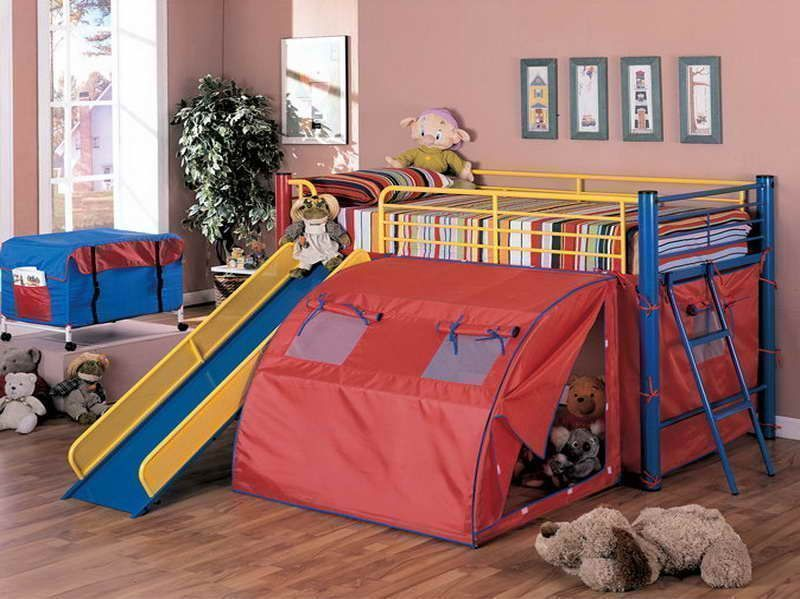 bright colour double deck bed with slide and tent for kids