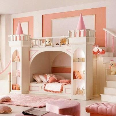 pink and white castle princess theme bedroom for girls