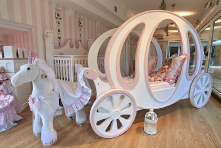 pink and white princess carriage bed with unicorn, great for little girls