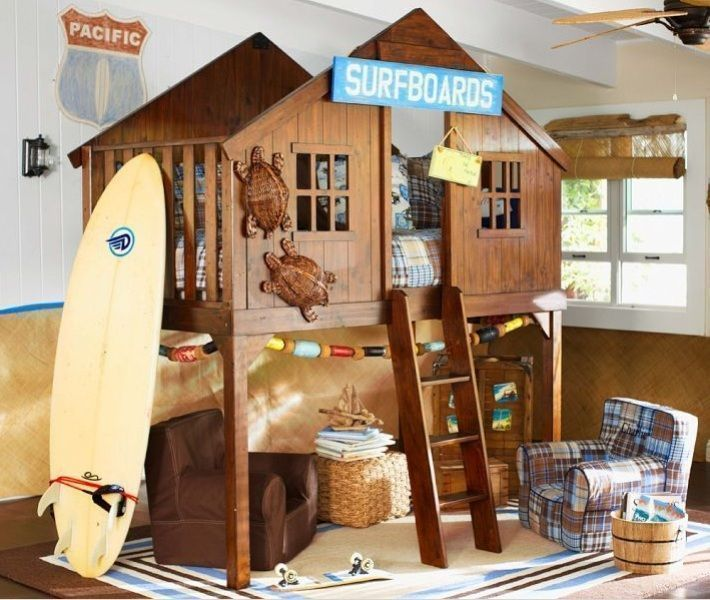 cabin treehouse bed with ladder and surf theme for boys and girls