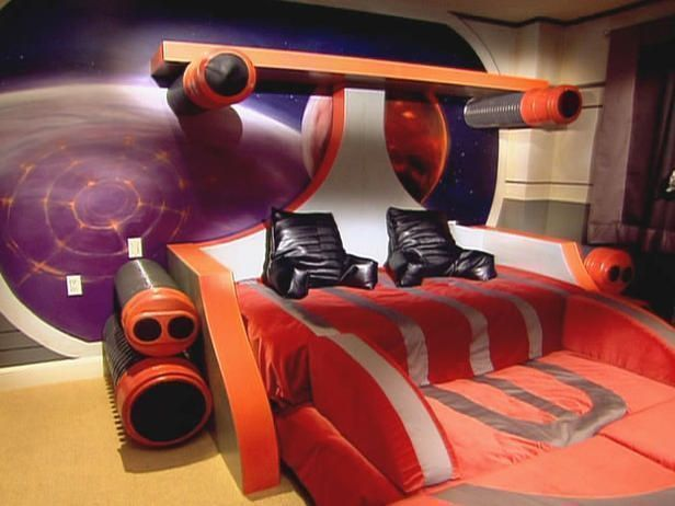 spaceship bed for a science theme bedroom for boys