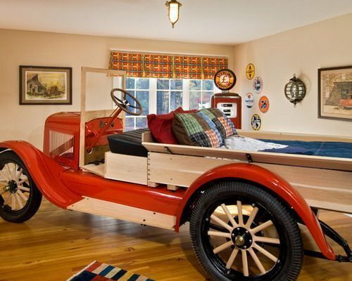 colourful red vintage car bed great for boys who love cars