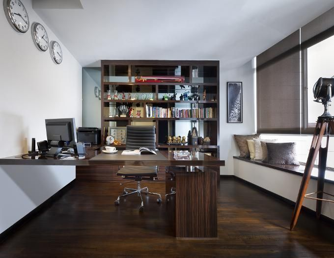 classic dark wood furnished home office