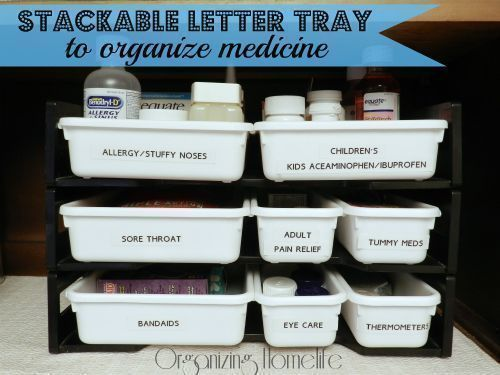 a well labeled tray storage to organise medicine