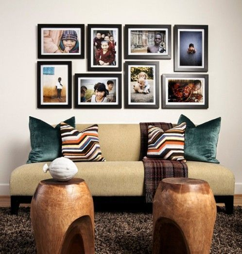 Video of how to decorate your wall with family photos