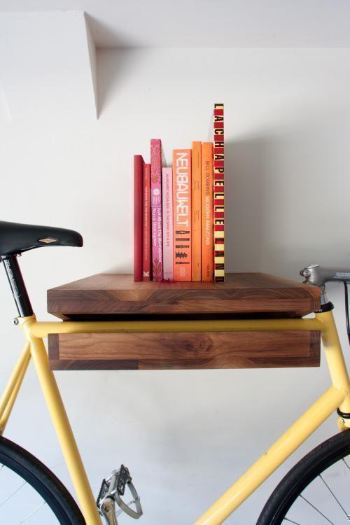 multipurpose bike shelf and bookshelf