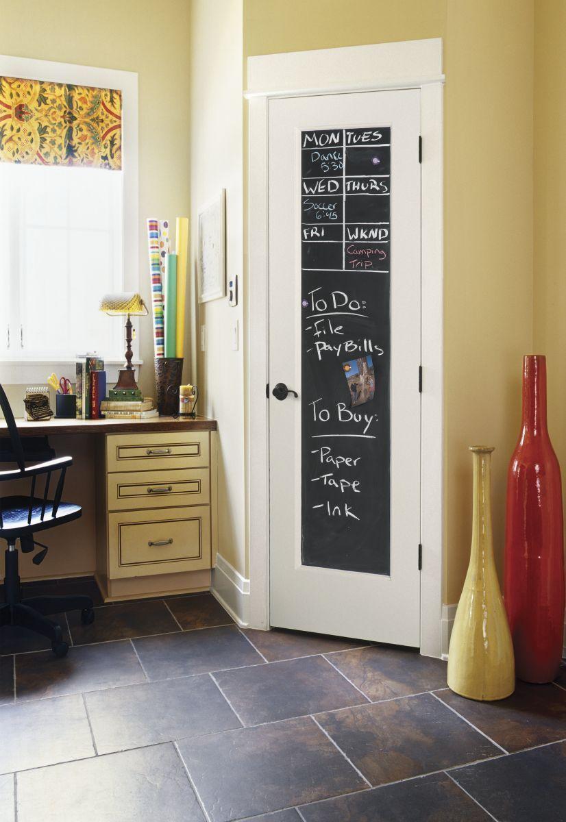 multipurpose door and artistic chalkboard