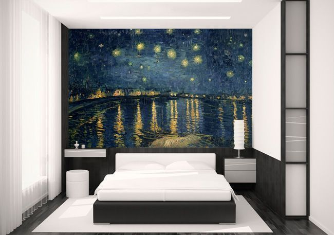 soft oil painting mural wallpaper design for the bedroom