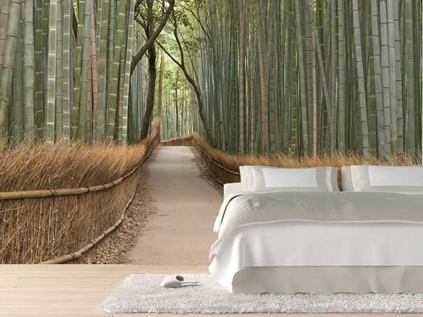 japanese bamboo wallpaper mural for a nature looking zen house