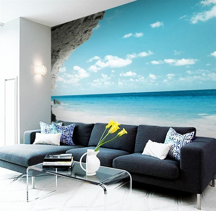 landscape and panoramic view mural and wallpaper works well for a large living room
