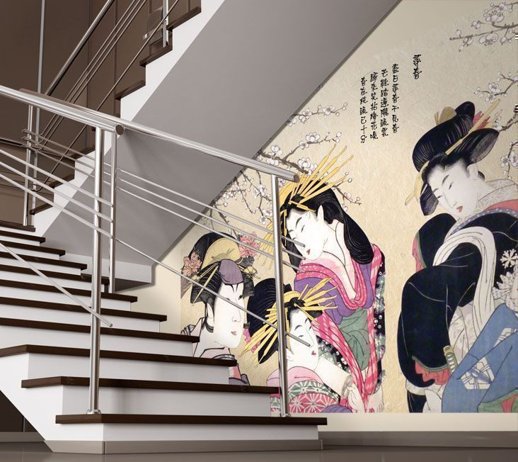 japanese geisha wallpaper mural for a conversation starter