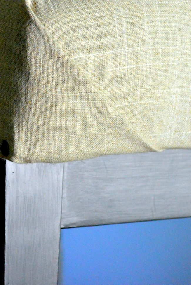 how to wrap corners of fabric neatly on the upholstered bench