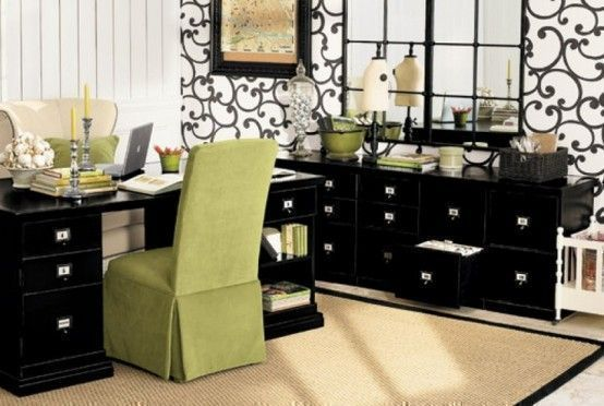 use of bold wallpaper to create an elegant home office