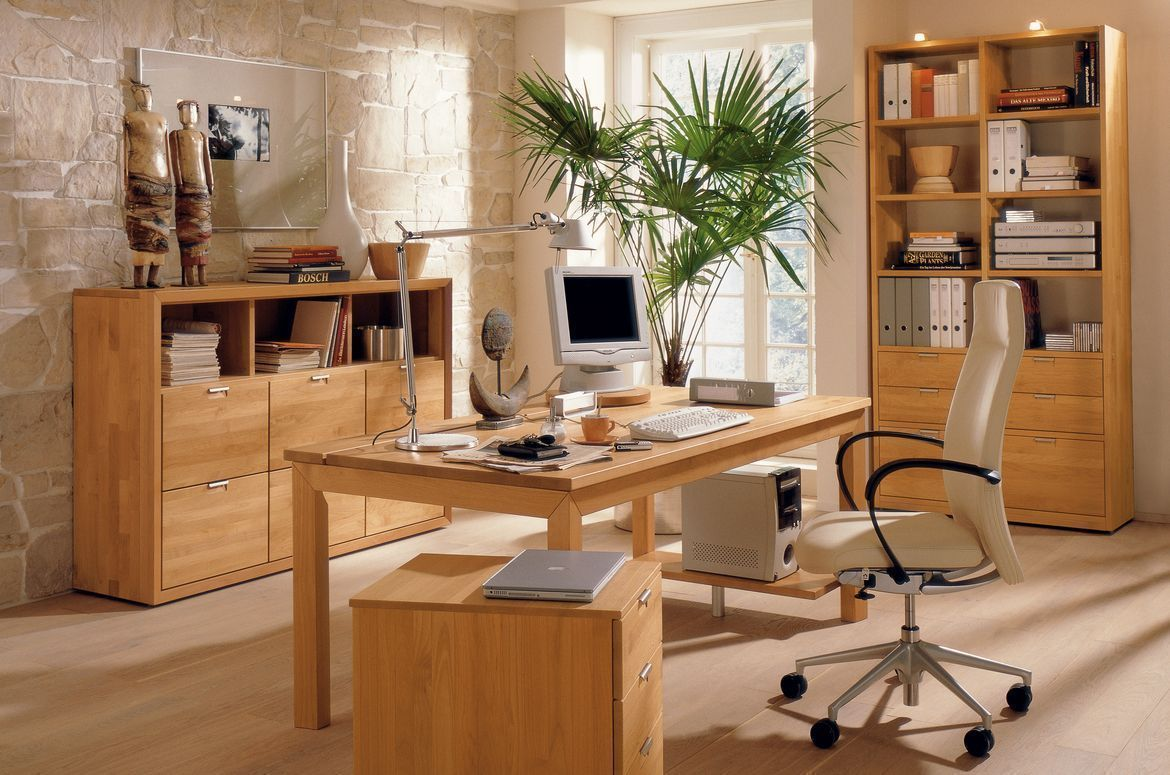 a bright and wood theme home office