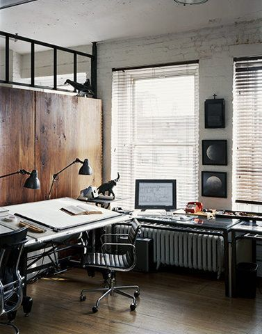 NYC loft style for a stylish home office